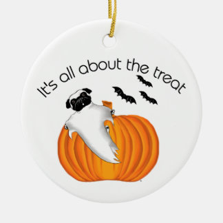 Halloween Pug Double-Sided Ceramic Round Christmas Ornament