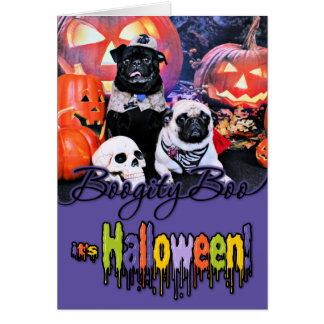 Halloween - Pug - Ruffy and Lola Greeting Card