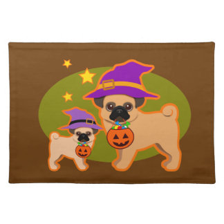 Halloween pugs cloth placemat
