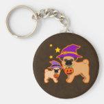 Halloween pugs key chain