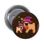Halloween pugs pinback buttons