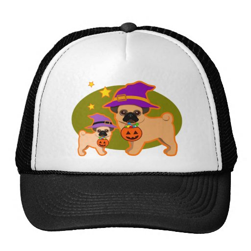 Halloween pugs trucker hat
