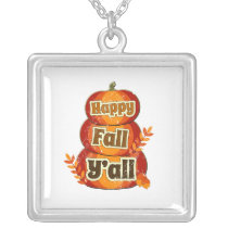 Halloween Pumpins Happy Fall Yall square Silver Plated Necklace