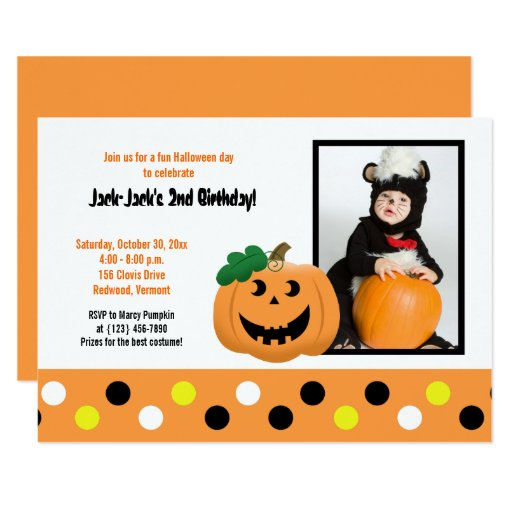 Halloween Pumpkin 5x7 Photo Birthday Invitation