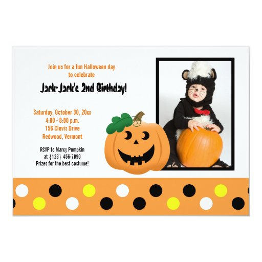 Halloween Pumpkin 5x7 Photo Birthday Invitation