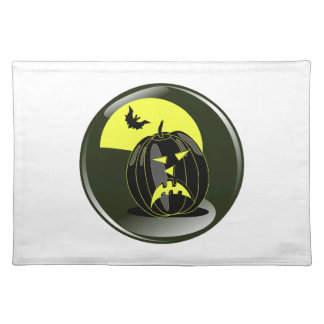 halloween pumpkin and bat in front of yellow moon placemat