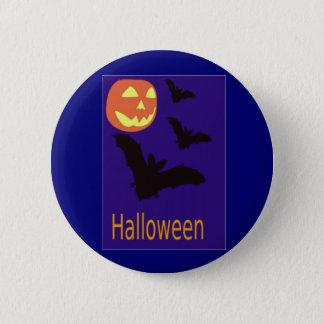 Halloween Pumpkin and Bats Pinback Button
