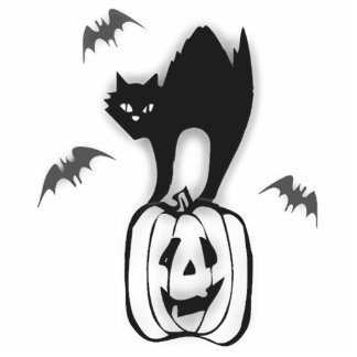 Halloween Pumpkin and Black Cat Acrylic Cut Outs