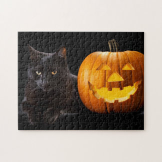 Halloween pumpkin and black cat puzzle