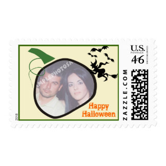 Halloween Pumpkin And Witch Photo Postage Stamp