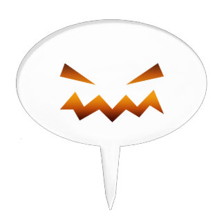 Halloween pumpkin angry face cake toppers