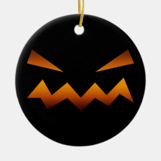 Halloween pumpkin angry face ceramic ornament