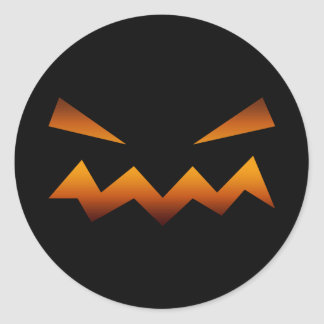 Halloween pumpkin angry face classic round sticker