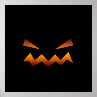 Halloween pumpkin angry face poster
