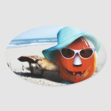 Beach Themed Halloween Pumpkin At The Beach Oval Sticker