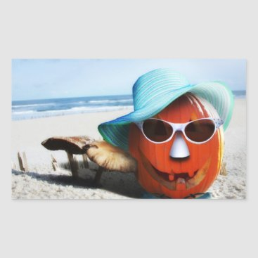Beach Themed Halloween Pumpkin At The Beach Rectangular Sticker