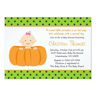 Halloween Pumpkin Baby Girl Shower Invitation
