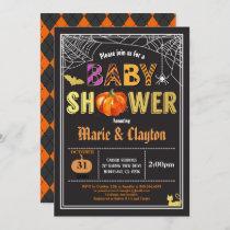 Halloween pumpkin baby shower black & gold invitation