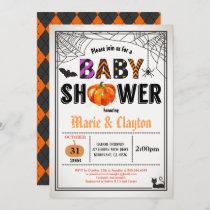 Halloween pumpkin baby shower gender neutral invitation