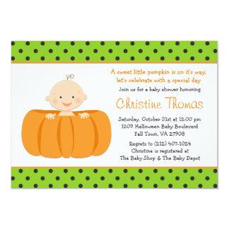 Halloween Pumpkin Baby Shower Invitation