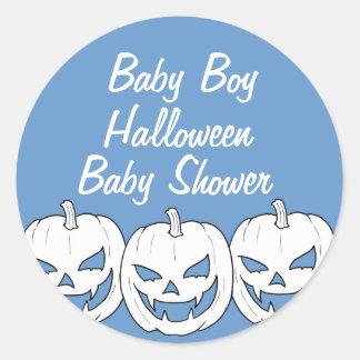 Halloween Pumpkin Baby Shower Round Stickers - Boy
