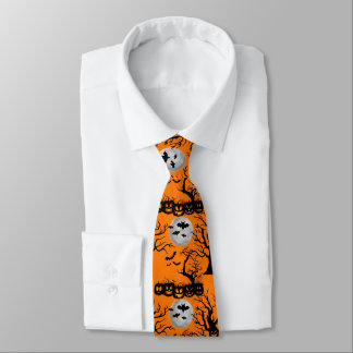 Halloween pumpkin bat pattern tie