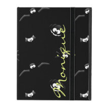 halloween pumpkin, bat, spider and owl with name iPad folio case