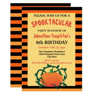 Halloween Themed Halloween Pumpkin Birthday Party Invitations