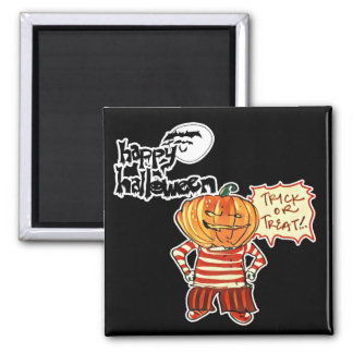 halloween pumpkin boy says trick or treat magnet