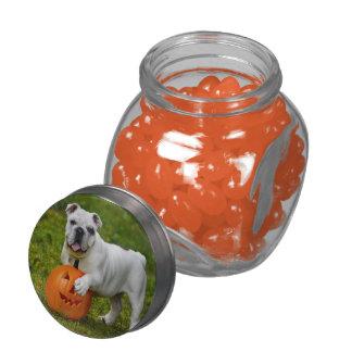 Halloween pumpkin bulldog glass jars