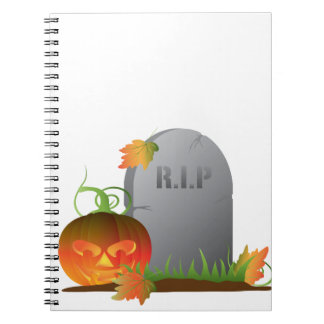 Halloween Pumpkin by Tombstone Illustration Notebook