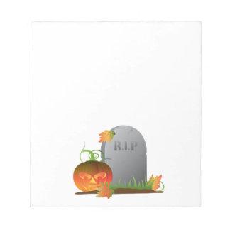 Halloween Pumpkin by Tombstone Illustration Notepad