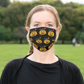 Halloween Pumpkin Candy Baskets Black Cloth Face Mask