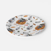 Halloween Pumpkin Candy Bugs and Birds Paper Plate