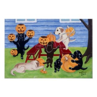 Halloween Pumpkin Carving Labradors Artwork Poster