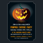 """Halloween Pumpkin Carving Party Invitation<br><div class=""""desc"""">A glowing jack-o-lantern with a sinister smile invites you to a Halloween Pumpkin Carving Party. All of the text can be change by """"customizing it"""". Great for an adult or kids spooky Halloween Party or Birthday Party. Please check my store for more like this.</div>"""