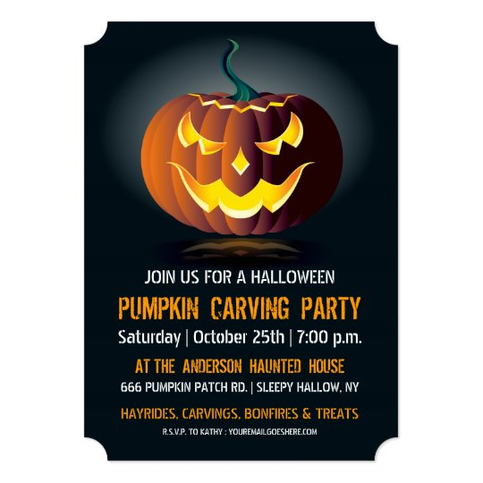 halloween pumpkin carving party invitation zazzle com