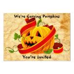 "Halloween Pumpkin Carving Party Invitation 5"" X 7"" Invitation Card"