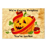 Halloween Pumpkin Carving Party Invitation Cards