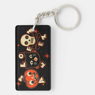 Halloween pumpkin cat skull vintage keychain
