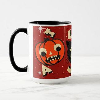 Halloween pumpkin cat skull vintage mug