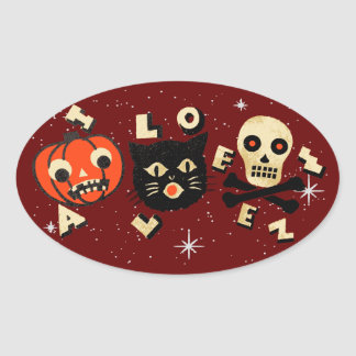 Halloween pumpkin cat skull vintage oval sticker