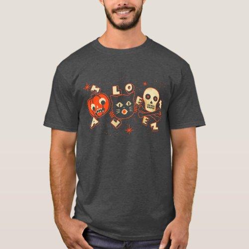 Halloween pumpkin cat skull vintage T_Shirt