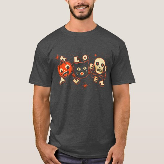 Halloween pumpkin cat skull vintage T-Shirt