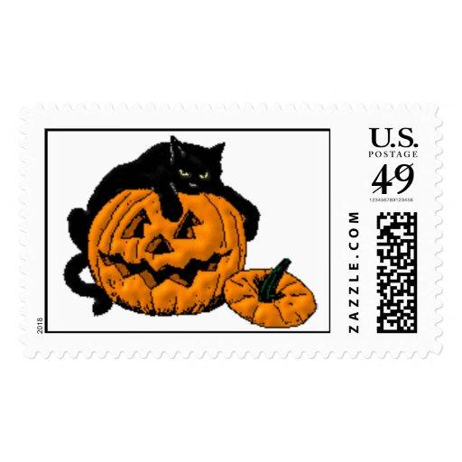 Halloween Pumpkin & Cat Stamp
