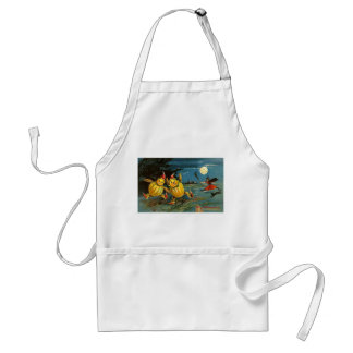Halloween Pumpkin Characters and Witch Adult Apron