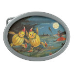 Halloween Pumpkin Characters and Witch Belt Buckle