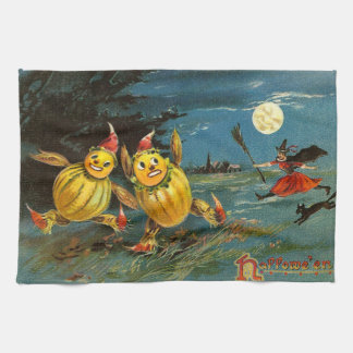 Halloween Pumpkin Characters and Witch Hand Towel
