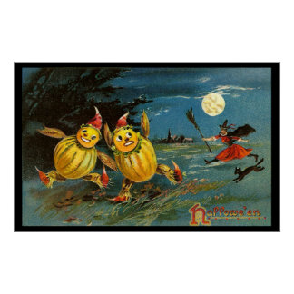 Halloween Pumpkin Characters and Witch Poster