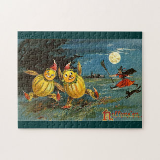 Halloween Pumpkin Characters and Witch Jigsaw Puzzles